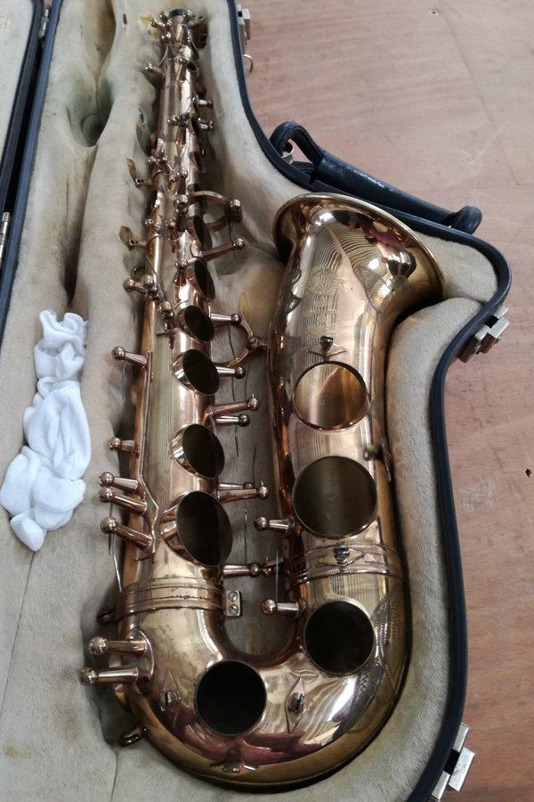 Saxofon vor Strahlvorgang